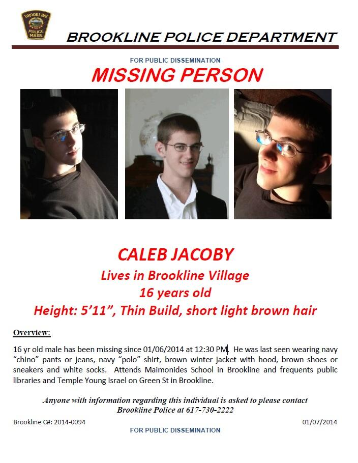 Missing Child: Caleb Jacoby, description and contact information.